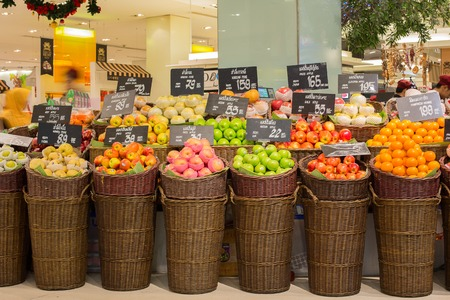 centres: BANGKOK, THAILAND - NOVEMBER 19, 2013 : Selection fruits in a supermarket Siam Paragon in Bangkok, Thailand. Siam Paragon is a one of the biggest shopping centres in Asia. Editorial