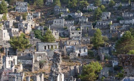 ghost town: Empty Houses in Kayakoy Ghost Town, Turkey