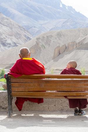 LAMAYURU, INDIA - JUNE 15, 2015: Unidentified buddhist monk during mystical mask dancing Tsam mystery dance in time of Yuru Kabgyat Buddhist festival at Lamayuru Gompa, Ladakh, North India Editorial