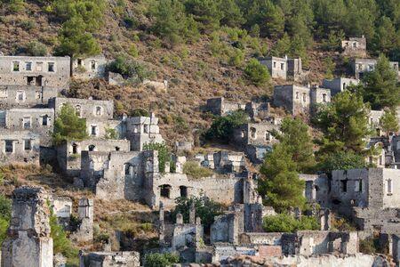 kayakoy: Empty Houses in Kayakoy Ghost Town, Turkey
