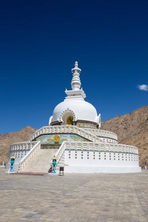 shanti: White Tall Shanti Stupa and blue sky, Peace Pagoda near Leh, Ladakh, Jammu and Kashmir, India