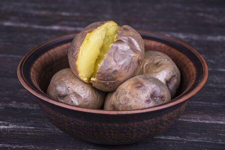 baked potatoes: Ukrainian national dish is baked potatoes. Close up Stock Photo