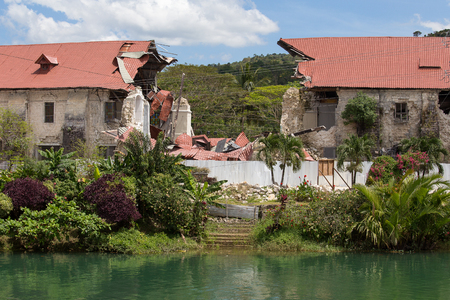 collapsed: Collapsed church in Bohol. Philippines. Earthquake in October 2013