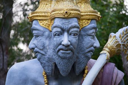 Many-headed mythical statue, Island Koh Samui, Thailand. Close up