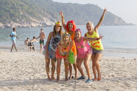 anywhere: PHANGAN, THAILAND - JANUARY 5, 2015 :Unidentified people participate in the Full Moon party on island Koh Phangan. The event now attracts anywhere from 40,000 party-goers on a normal month