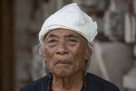 healer: UBUD, BALI, INDONESIA - MARCH 10, 2015 : Portrait Ketut Liyer, traditional healer, who starred in the movie Eat Pray Love with Julia Roberts in 2010 Editorial