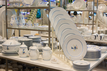 paragon: BANGKOK, THAILAND - JANUARY 7, 2016 : Section of ceramic tableware Patra in supermarket Siam Paragon. Siam Paragon is a one of the biggest shopping centres in Asia.