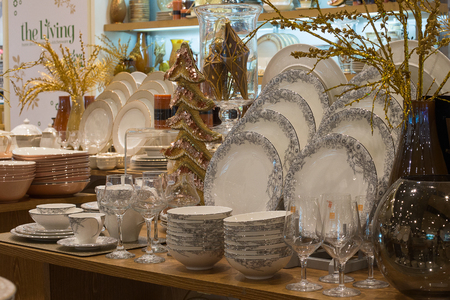paragon: BANGKOK, THAILAND - JANUARY 7, 2016 : Section of ceramic tableware in supermarket Siam Paragon. Siam Paragon is a one of the biggest shopping centres in Asia.