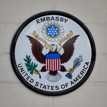 BANGKOK,THAILAND - FEBRUARY 13, 2016: The USA embassy sign. The embassy is located on Wireless Road in the heart of Bangkok.
