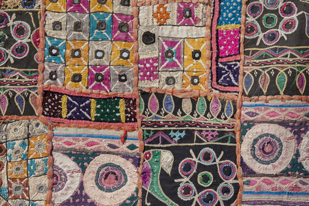 rajasthan: Indian patchwork carpet in Rajasthan, Asia Stock Photo