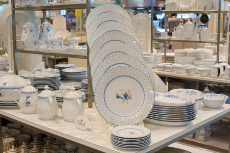 centres: BANGKOK, THAILAND - JANUARY 7, 2016 : Section of ceramic tableware Patra in supermarket Siam Paragon. Siam Paragon is a one of the biggest shopping centres in Asia.
