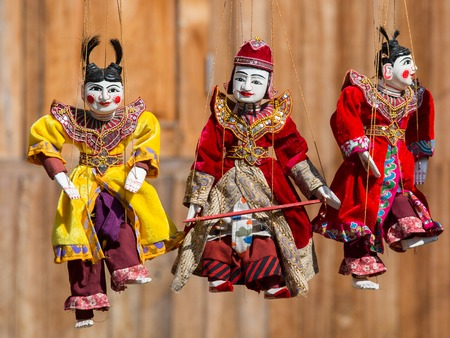 ethnology: Traditional handicraft puppets are sold in a market in Bagan, Myanmar