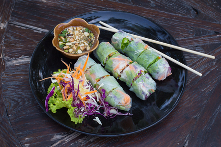 spring roll: Fresh vietnamese spring rolls on a plate with salad