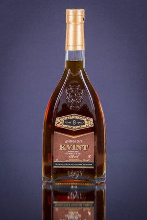 SHEPETOVKA, UKRAINE - JUNE 21, 2016: Cognac KVINT made on the Tiraspol Wine Cognac factory Redakční