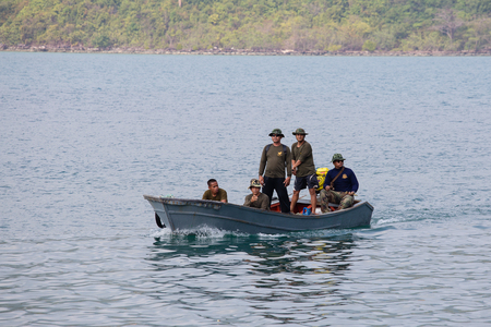 border patrol: KOH KOOD, THAILAND - JANUARY 30, 2015 : Unidentified thai border guards patrol the sea near the Cambodian border Editorial