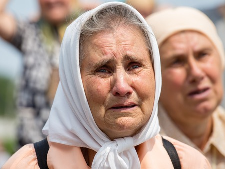 KIEV, UKRAINE - JULY 27, 2016 : Parishioners Ukrainian Orthodox Church Moscow Patriarchate during religious procession. At present there is undeclared war of Kiev Patriarchate and Moscow Patriarchate Editorial