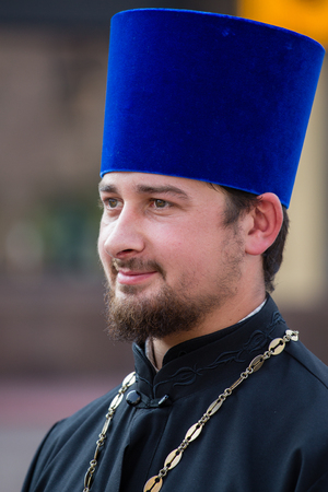 processions: KIEV, UKRAINE - JULY 27, 2016 : Parishioners Ukrainian Orthodox Church Moscow Patriarchate during religious procession. At present there is undeclared war of Kiev Patriarchate and Moscow Patriarchate Editorial