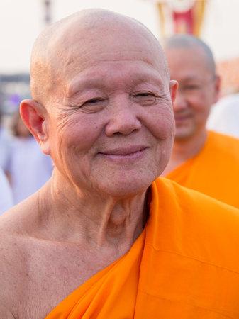 venerable: BANGKOK,THAILAND - FEBRUARY 22, 2016: Venerable Dhattajeevo Bhikku , Thai monk during Buddhist ceremony Magha Puja Day in Wat Phra Dhammakaya