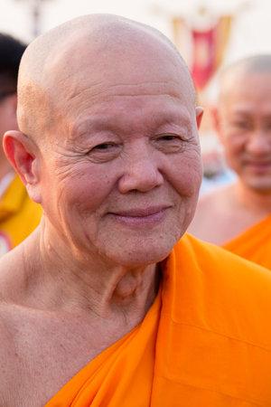 thai monk: BANGKOK,THAILAND - FEBRUARY 22, 2016: Venerable Dhattajeevo Bhikku , Thai monk during Buddhist ceremony Magha Puja Day in Wat Phra Dhammakaya