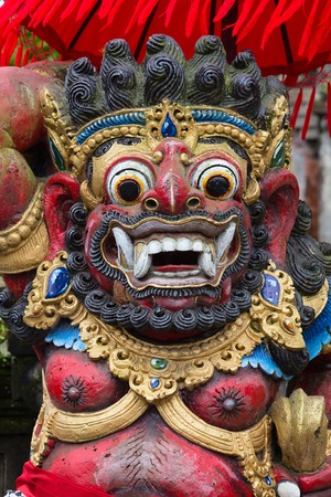 Close up of traditional Balinese God statue in Central Bali temple. Indonesia Stock Photo