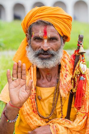sadhu: KATHMANDU, NEPAL - SEPTEMBER 29, 2016 : Portrait of Shaiva sadhu, holy man in Pashupatinath Temple . Close up