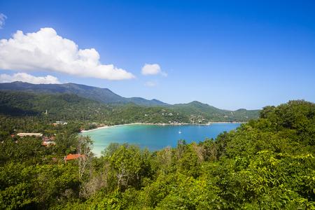 Tropical beach, coconut palm tree and blue sea water. Island Koh Phangan, Thailand