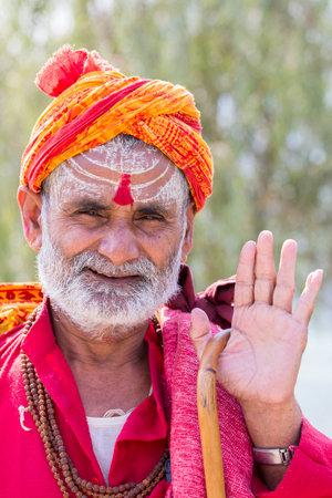 sadhu: KATHMANDU, NEPAL - OCTOBER 23, 2016 : Portrait of Shaiva sadhu, holy man in Pashupatinath Temple . Close up