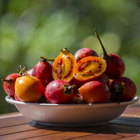Tamarillo fruits, Terong belanda, close up. Island Bali, Ubud, Indonesia