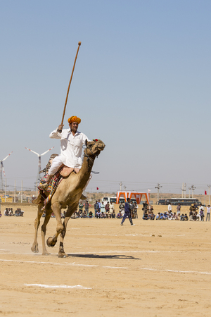 JAISALMER, INDIA - FEBRUARY 09, 2017 : Unidentified men play camel polo at Desert Festival in Jaisalmer, Rajasthan, India. Main purpose of Festival is to display colorful culture of Rajasthan Editorial