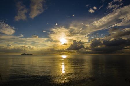 wonderful thailand: Wonderful dramatic sunset over the sea water at island Koh Phangan, Thailand Stock Photo