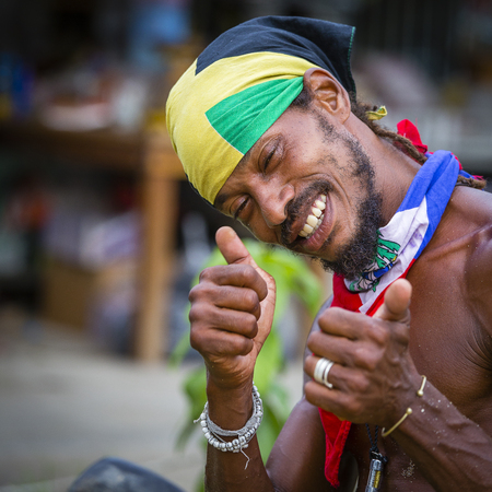 KOH PHANGAN, THAILAND - MAY 2, 2017 : Unidentified man participate in the Full Moon party on island Koh Phangan. The event now attracts about 40,000 party-goers every month