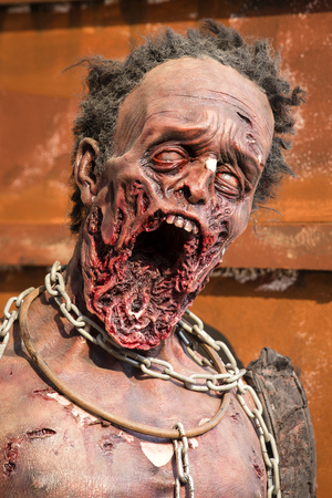 Grim figure of zombies on the street of Bangkok, Thailand. Close up