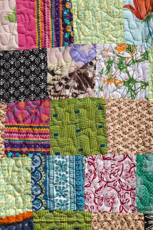 karnataka: Detail Indian patchwork blanket in market. Rajasthan, Asia . Close up Stock Photo