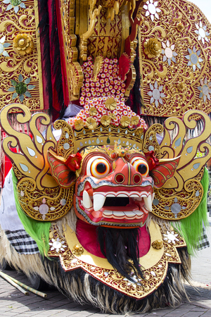 Traditional Balinese Barong figure on street ceremony in island Bali, Indonesia. Close up