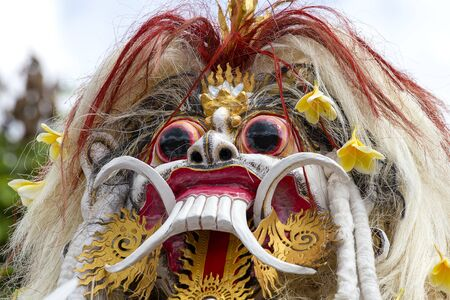 UBUD, BALI, INDONESIA - MARCH 20, 2015 : Impresive hand made structure, Ogoh-ogoh statue built for the Ngrupuk parade, which takes place on the even of Nyepi day in Bali island, Indonesia, close up