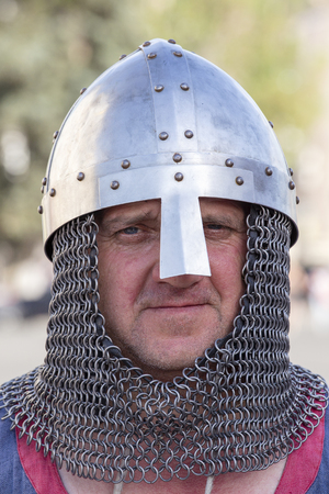 KIEV, UKRAINE - MAY 05, 2018 : Ethno-fest : traditions - emotions - life. Knight in chain armours lived in Kyivan Rus, historical reconstruction of ancient Kiev Editorial