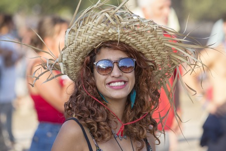 BUDAPEST, HUNGARY - AUGUST 15, 2017 : Unknown girl is a participants of music festival Sziget. Sziget Festival, the Island of Freedom, has ended with the total number of 452.000 Citizens