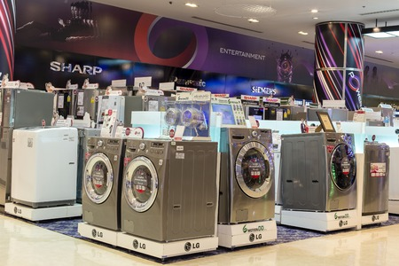 BANGKOK,THAILAND - NOVEMBER 19, 2013 : Sale of washing machines in the supermarket of various manufacturers in Siam Paragon Mall, Bangkok, Thailand