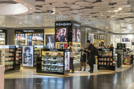 KIEV, UKRAINE - OCTOBER 24, 2018 : Yves Saint Laurent Store and different brands at Duty Free shop in Boryspil International Airport Terminal, Kyiv, Ukraine Editorial