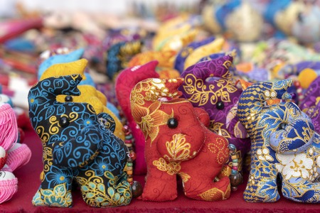 Elephant doll for sell in street market, Thailand. Souvenirs for tourists at market , close up Stockfoto