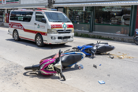 KOH PHANGAN, THAILAND - MAY 19, 2019 : Motorcycle accident that happened on the road at tropical island Koh Phangan, Thailand . Traffic accident between a motorcycle on street Stock Photo - 126073388