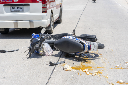 KOH PHANGAN, THAILAND - MAY 19, 2019 : Motorcycle accident that happened on the road at tropical island Koh Phangan, Thailand . Traffic accident between a motorcycle on street Stock Photo - 126073390