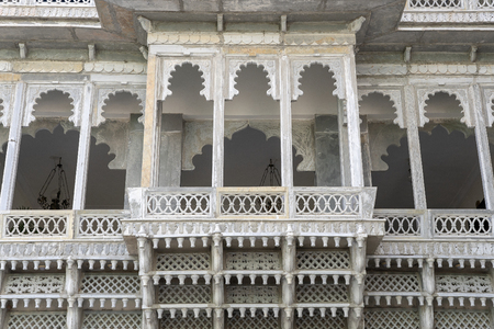 Detail of architecture, decorated facade in Udaipur, Rajasthan, India. Close up Stock Photo