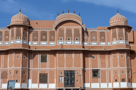 Hawa Mahal, pink palace of winds in old city Jaipur, Rajasthan, India. Background of indian architecture, close up 에디토리얼