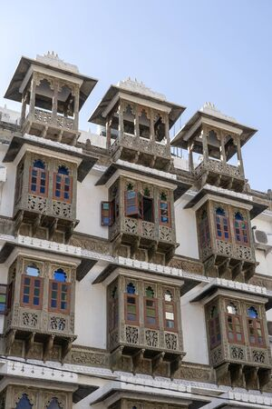 Detail of architecture, decorated facade in Jaipur, Rajasthan, India. Close up