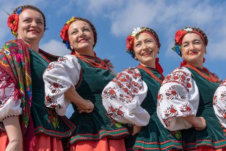 Slavuta, Ukraine - september 22, 2019 : Ukrainian women in national costumes take part in the Ethno-eco festival Koledar in city Slavuta, Ukraine