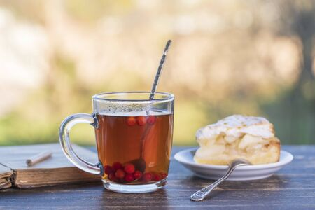 Tea glass with sweet cake and book on wooden table in the morning, outdoors, close up