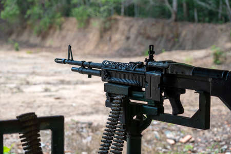 Machine gun automatic weapon for people shooting at Cu Chi tunnels in Ho Chi Minh, Vietnam, close up