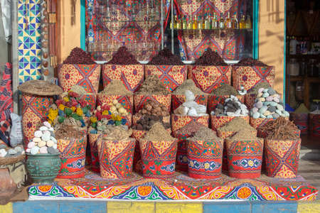 Traditional spices bazaar with herbs and spices for sale to tourists in street old market in Sharm El Sheikh, Egypt, close up Stock Photo
