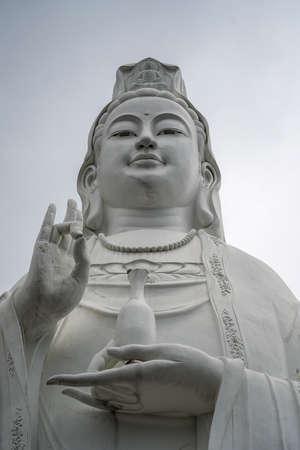 Lady Buddha Da Nang is located at Linh Ung Pagoda on Son Tra Peninsula in Danang, Vietnam, close up